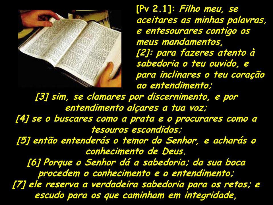 [Pv 2.1]: Filho meu, se aceitares as minhas palavras, e entesourares contigo os meus mandamentos,
